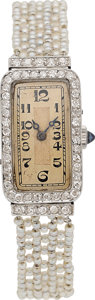 Estate Jewelry:Watches, Art Deco Swiss Lady's Diamond, Seed Pearl, Platinum, Gold Watch,French. ...