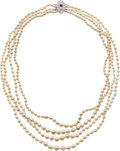 Estate Jewelry:Necklaces, Natural Pearl, Diamond, Sapphire, Platinum Necklace. ...