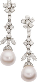 Estate Jewelry:Earrings, South Sea Cultured Pearl, Diamond, Platinum Earrings. ... (Total: 2 Items)