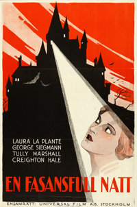 """The Cat and the Canary (Universal, 1927). Swedish One Sheet (23.5"""" X 35"""")"""