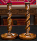 Paintings, A Pair of English Oak Barley-Twist Candlesticks, late 19th century. 11 inches high (27.9 cm). ... (Total: 2 Items)