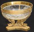 Ceramics & Porcelain, A French Empire-Style Cut-Glass and Gilt Bronze-Mounted Figural Bowl, early 20th century. 5 inches high x 6-1/2 inches diame...