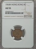 Hong Kong:British Colony, Hong Kong: British Colony. Elizabeth II 5 Cents 1964-H AU55 NGC,...