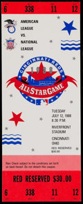Baseball Collectibles:Tickets, 1988 MLB All-Star Game at Riverfront Stadium Full Ticket. ...