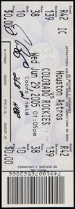 Baseball Collectibles:Tickets, 2005 Craig Biggio Signed HBP 268 Full Ticket....