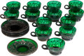 Decorative Arts, Continental, Sixteen Continental Green and Silvered Glass Cups with NineteenSaucers, early 20th century. 1-1/2 inches high (cups). 4-1/4...(Total: 35 Items)