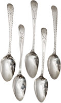 Silver Flatware, British:Flatware, Five George III Silver Demitasse Spoons, late 18th-early 19thcenturies. Marks: (various). 4-5/8 inches long (11.7 cm). 1.64...(Total: 5 Items)
