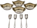 Silver Holloware, American:Open Salts, Four Gorham Silver Salt Cellars with Four Webster Silver Co. SaltScoops, 20th century. Marks: (various). 3-1/2 inches long ...(Total: 8 Items)
