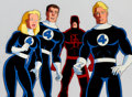 Animation Art:Production Cel, The Fantastic Four Sue Storm, Reed Richard, Daredevil, andJohnny Storm Production Cel Setup and Animation Drawing (Ma...(Total: 4 )