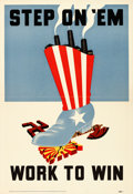 "Movie Posters:War, World War II Propaganda (Joint Labor-Management War ProductionDrive, 1943). Poster (15"" X 22"") ""Step On 'Em."". ..."