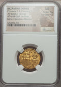 Ancients:Byzantine, Ancients: Constans II Pogonatus (AD 654-668), with Constantine IV.AV solidus (4.51 gm). NGC MS 5/5 - 4/5....