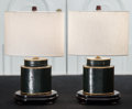 Decorative Arts, Continental, A Pair Deep Green Faux Leather Table Lamps, 20th century. 16-1/4inches high (41.3 cm). ... (Total: 2 Items)