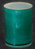Asian:Chinese, A Chinese Green Glazed Porcelain Beaker. Marks: (two-charactermark). 3-1/4 inches high (8.3 cm). ...