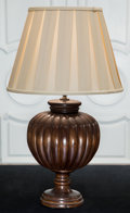 Decorative Arts, Continental, A Gadrooned Bulbous Mahogany Table Lamp, 20th century. 30 incheshigh (76.2 cm). ...