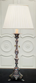 Furniture , A Silver-Plated Pricket Mounted as a Lamp. 43 inches high (109.2 cm) (including hardware). ...
