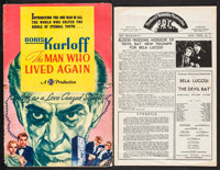 """The Man Who Lived Again & Other Lot (Gaumont, 1936). Pressbooks (2) (Multiple Pages, 11.25"""" X 17.5"""" &..."""