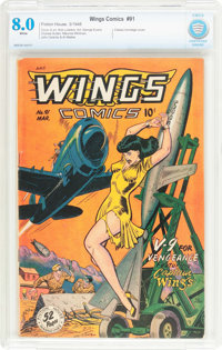 Wings Comics #91 (Fiction House, 1948) CBCS VF 8.0 White pages