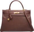 """Luxury Accessories:Bags, Hermes 35cm Noisette Courchevel Leather Retourne Kelly Bag withGold Hardware. U Circle, 1991. Very Good Condition. 14""""Wi..."""