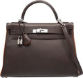 Luxury Accessories:Bags, Hermes Limited Edition 32cm Chocolate & Orange H Epsom LeatherRetourne Kelly Bag with Palladium Hardware. H Square,2004...