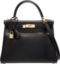 Luxury Accessories:Bags, Hermes 28cm Black Calf Box Leather Retourne Kelly Bag with Gold Hardware. A Square, 1997. Very Good to Excellent Condi...