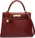 Luxury Accessories:Bags, Hermes 28cm Rouge H Calf Box Leather Retourne Kelly Bag with GoldHardware. G Square, 2003. Very Good to ExcellentCon...