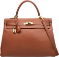 Luxury Accessories:Bags, Hermes 35cm Etrusque Buffalo Leather Retourne Kelly Bag with GoldHardware. G Square, 2003. Very Good to ExcellentCon...
