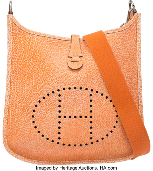639ee84c5b Hermes Orange H Dalmatian Buffalo Leather Evelyne I PM Bag