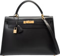 "Luxury Accessories:Bags, Hermes 32cm Black Calf Box Leather Sellier Kelly Bag with GoldHardware. Y Circle, 1995. Excellent Condition. 12.5"" Width..."