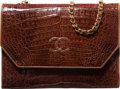 "Luxury Accessories:Bags, Chanel Shiny Brown Caiman Crocodile Shoulder Bag. Very GoodCondition. 9"" Width x 6.5"" Height x 2"" Depth. ..."