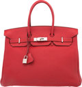 "Luxury Accessories:Bags, Hermes 35cm Rouge Garance Togo Leather Birkin Bag with PalladiumHardware. J Square, 2006. Very Good Condition. 14"" Width ..."