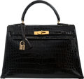 "Luxury Accessories:Bags, Hermes 32cm Shiny Black Crocodile Sellier Kelly Bag with GoldHardware. Circa 1940's. Good Condition. 12.5"" Width x 9""Hei..."