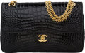 "Luxury Accessories:Bags, Chanel Shiny Black Crocodile Medium Double Flap Bag . Very Goodto Excellent Condition. 10"" Width x 6 Height x 2.5""De..."