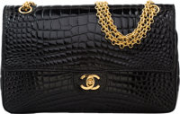 "Chanel Shiny Black Crocodile Medium Double Flap Bag Very Good to Excellent Condition 10"" Width x"