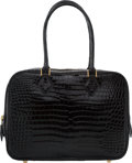 Luxury Accessories:Bags, Hermes 28cm Shiny Black Porosus Crocodile Plume Bag with GoldHardware. F Square, 2002. Very Good to Excellent Condition....