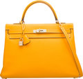 Luxury Accessories:Bags, Hermes Limited Edition Candy Collection 35cm Jaune d'Or EpsomLeather & Potiron Retourne Kelly Bag with PermabrassHardware...