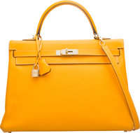 Hermes Limited Edition Candy Collection 35cm Jaune d'Or Epsom Leather & Potiron Retourne Kelly Bag with Permabrass H...