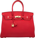 "Luxury Accessories:Bags, Hermes 35cm Rouge Casaque Clemence Leather Birkin Bag with GoldHardware. Q Square, 2013. Pristine Condition. 14"" Width x..."