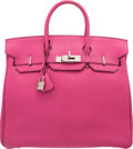 Luxury Accessories:Bags, Hermes 32cm Fuchsia Chevre Coromandel Leather HAC Birkin Bag withPalladium Hardware. I Square, 2005. Very Good Condition...