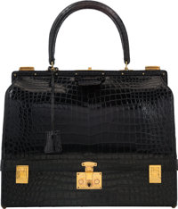 Hermes Shiny Black Crocodile Sac Mallet Bag with Gold Hardware A Circle, 1971 Good to Very Good C