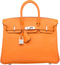 "Luxury Accessories:Bags, Hermes 25cm Orange H Epsom Leather Birkin Bag with PalladiumHardware. K Square, 2007. Very Good Condition. 10"" Width x8""..."