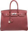 Luxury Accessories:Bags, Hermes 35cm Rouge H Clemence Leather Birkin Bag with PalladiumHardware. F Square, 2002. Good to Very GoodCondition...
