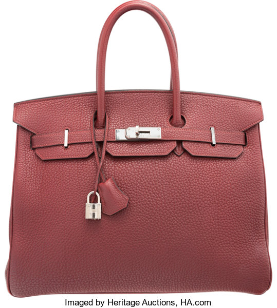 2391988ccc Hermes 35cm Rouge H Clemence Leather Birkin Bag with