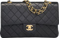 "Luxury Accessories:Bags, Chanel Black Quilted Lambskin Leather Medium Double Flap Bag. Very Good to Excellent Condition. 10"" Width x 6"" Height ..."