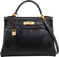 Hermes 32cm Black Calf Box Leather Retourne Kelly Bag with Gold Hardware W Circle, 1993 Good to Very Good Co