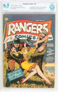 Golden Age (1938-1955):War, Rangers Comics #13 (Fiction House, 1943) CBCS FN+ 6.5 Off-white to white pages....
