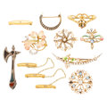 Estate Jewelry:Brooches - Pins, Victorian Diamond, Multi-Stone, Seed Pearl, Glass, Enamel, Gold, Silver Brooches. . ... (Total: 10 Items)