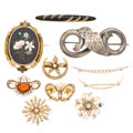 Estate Jewelry:Brooches - Pins, Victorian Diamond, Multi-Stone, Freshwater Pearl, Seed Pearl, Enamel, Gold, Silver Brooches. . ... (Total: 10 Items)