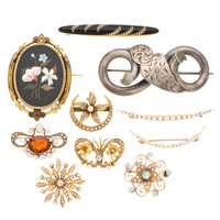 Victorian Diamond, Multi-Stone, Freshwater Pearl, Seed Pearl, Enamel, Gold, Silver Brooches