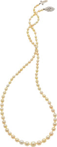 Estate Jewelry:Necklaces, Natural Pearl, Cultured Pearl, Diamond, Platinum Necklace. ...