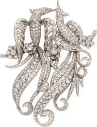 Diamond, Platinum, White Gold Double-Clip-Brooch, French